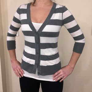 Loft Grey and White Cardigan